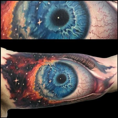 Gods eye nebula/ eye ball morph tattoo Tattoo Design Thumbnail