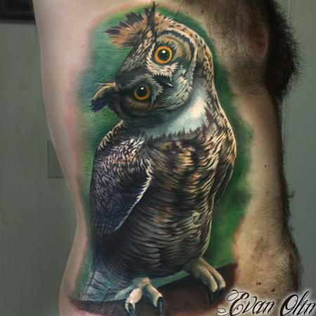 Evan Olin - Color realistic owl tattoo