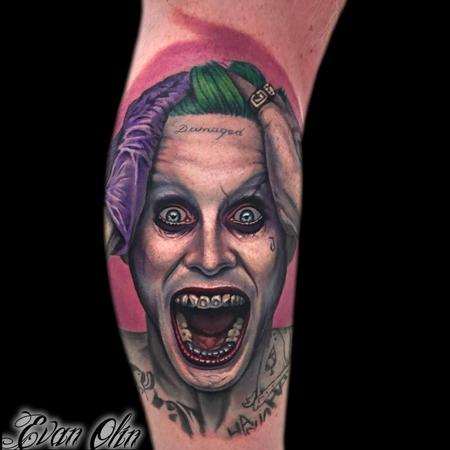 Evan Olin - Jared Leto Joker portrait tattoo