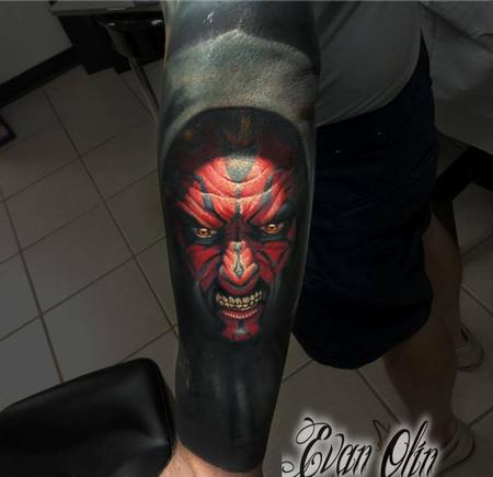 Evan Olin - Darth Maul portrait tattoo (with cover up)