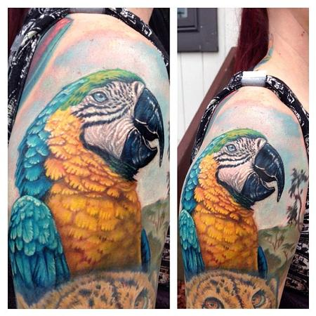 Full color realistic parrot tattoo Tattoo Design Thumbnail