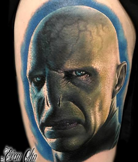 Evan Olin - Voldemort from Harry Potter portrait tattoo