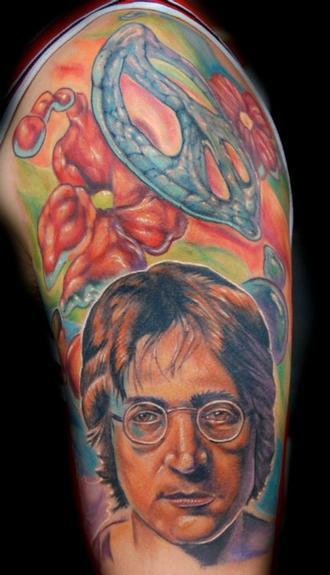 Evan Olin - John Lennon from the Beatles/peace half sleeve tattoo
