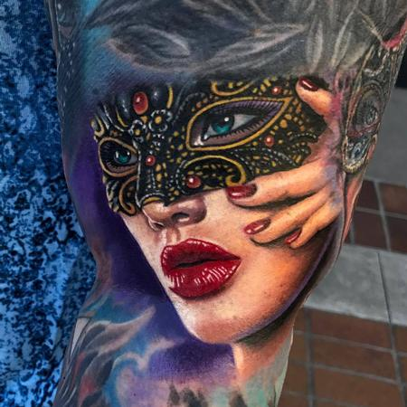 Evan Olin - Masquerade mask portrait tattoo