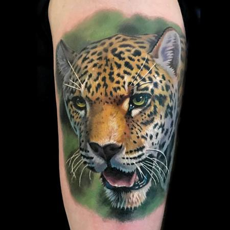 Evan Olin - color realistic cheetah tattoo done at the Philadelphia Tattoo Arts Convention