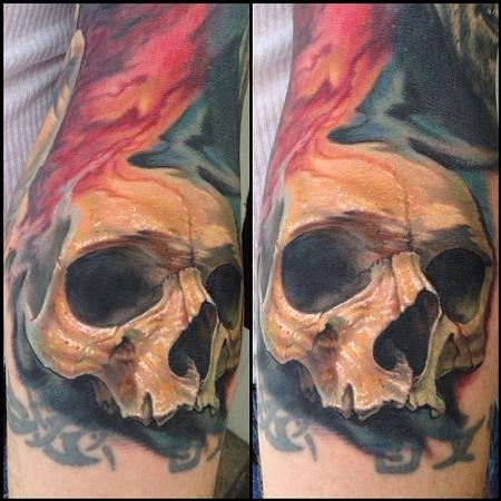 Full color painterly realistic skull tattoo by evan olin for Color skull tattoos