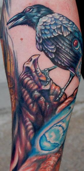 Evan Olin - Realistic crow tattoo