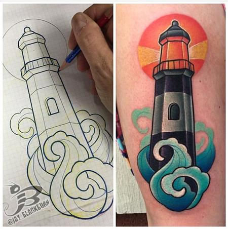 Jay Blackburn - New School Lighthouse Tattoo