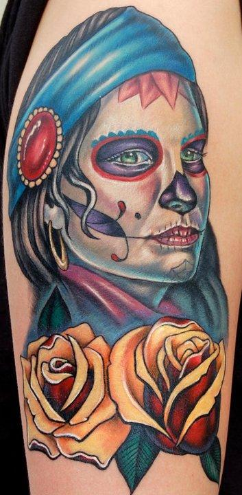 Evan Olin - Custom gypsy-sugar skull/ day of the dead girl portrait with traditional roses tattoo