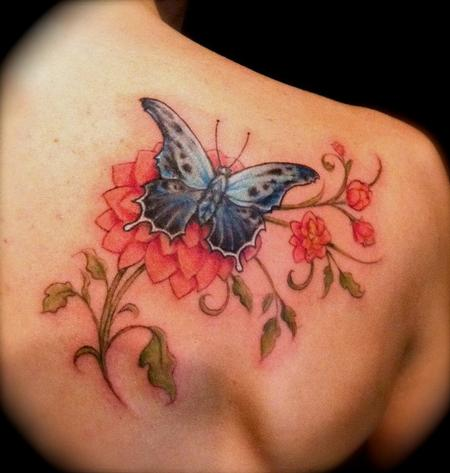 Butterfly and flower back tattoos