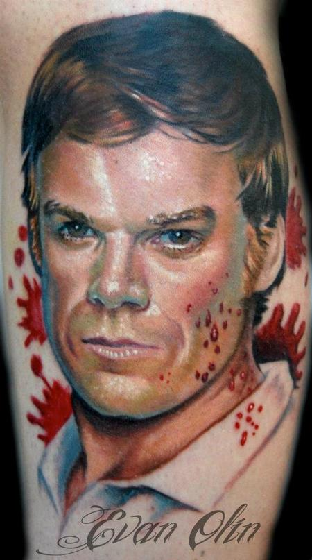 Evan Olin - Full color realistic Dexter portrait tattoo
