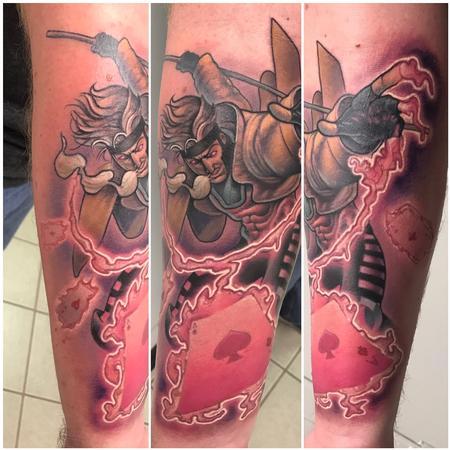 Tattoos - New school X Men Gambit tattoo - 131847