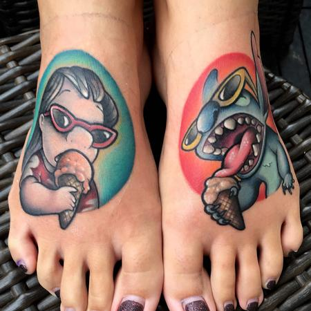 Tattoos - New school Lilo and Stitch tattoo  - 131844