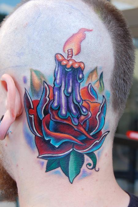 Evan Olin - Full color new school candle and rose tattoo
