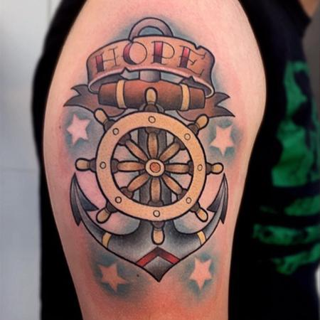 Tattoos - New School Traditional Hope Anchor and Shipwheel - 124844