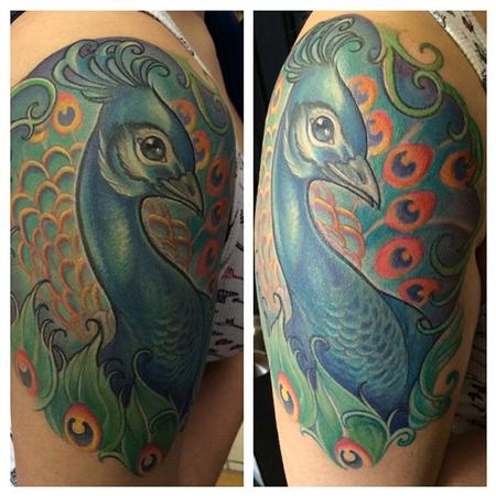 Mike Boissoneault - peacock half sleeve