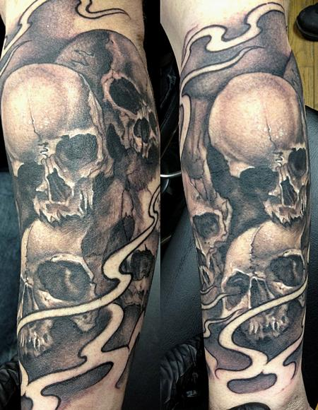 Black and gray skull sleeve by mike boissoneault tattoos for Tattoo design black and gray