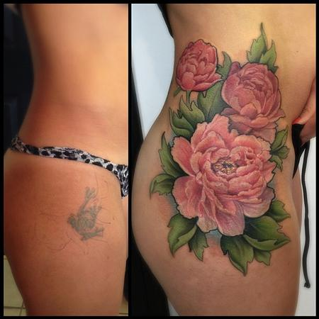 Tattoos - peonies cover up - 104731