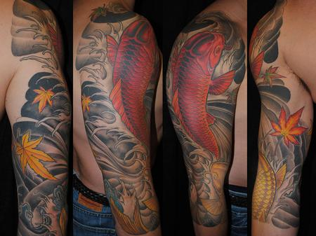 67271f143574d PowerLine Tattoo : Tattoos : Sleeves : Japanese Koi 3/4 Sleeve