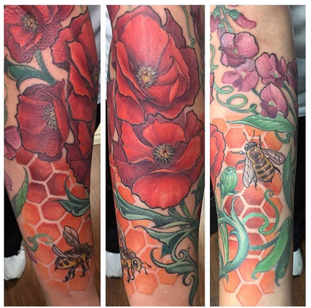 Tattoos - Bees and Poppies  - 133110