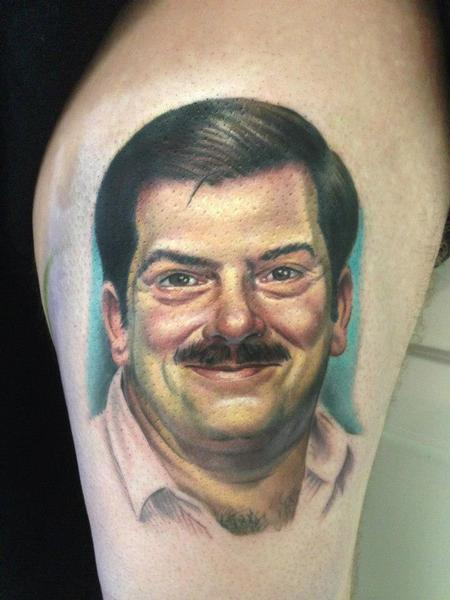 Evan Olin - Full color realistic portrait tattoo