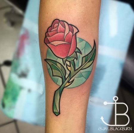 new school disney 39 s beauty and the beast rose by jay blackburn tattoos. Black Bedroom Furniture Sets. Home Design Ideas