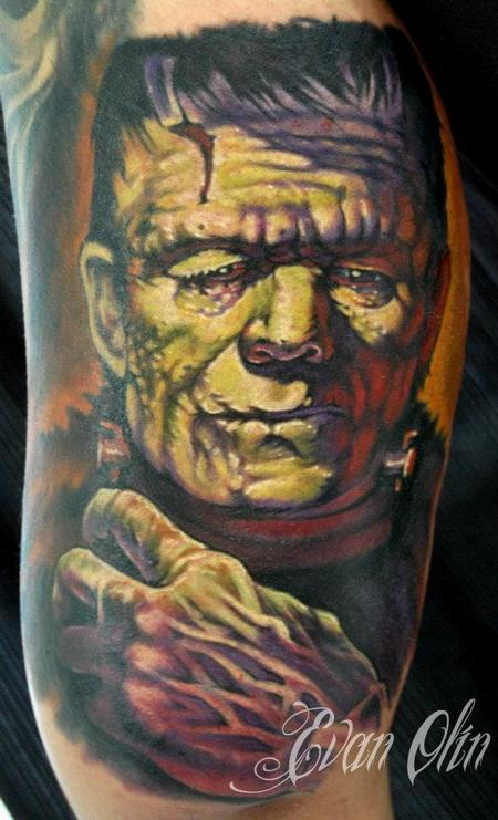 Evan Olin - Full color realistic Frankenstein tattoo