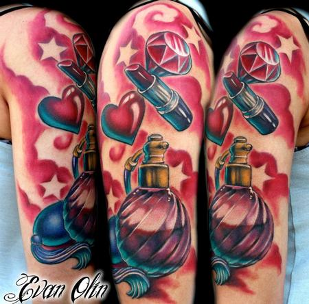 Evan Olin - Full color girly girl half sleeve tattoo