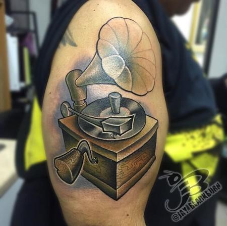 New School Gramophone Tattoo Design Thumbnail