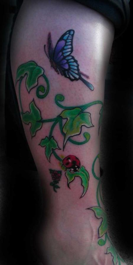 ivy tattoo. Full color floral Ivy tattoo