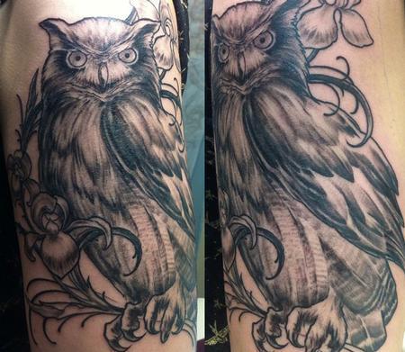 Tattoos - Black & Gray Owl - 88937
