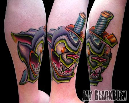 Jay Blackburn - Full color new school animated panther and dagger tattoo