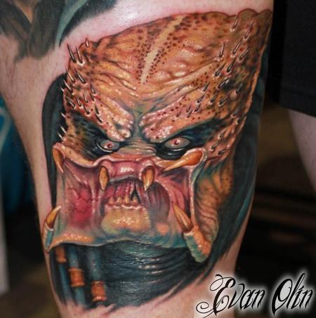 Tattoos - Full color realistic Predator tattoo (part of ongoing villians leg sleeve) - 76206