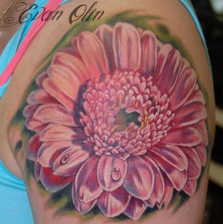 Evan Olin - Full color realistic daisy tattoo