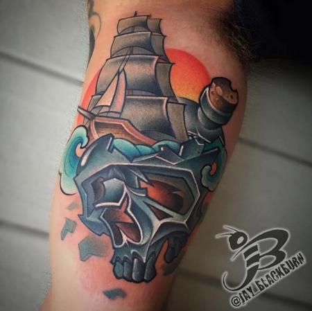Tattoos - New School Ship in a Skull - 109439