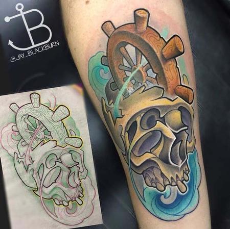 Tattoos - New School Skull And Shipwheel - 114058