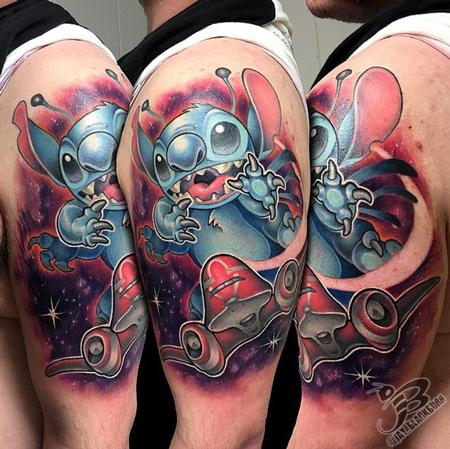 New School Stitch and spaceship tattoo Tattoo Design Thumbnail