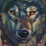 Tattoos - Painterly watercolor realistic wolf tattoo - 102415