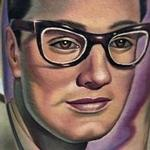 Tattoos - Color realistic Buddy Holly portrait tattoo - 102416