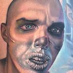 Color, realistic portrait of Nux from the new Mad Max film Tattoo Design Thumbnail