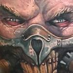 Color, realistic portrait of Immorten Joe from the new Mad Max film Tattoo Design Thumbnail