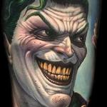 Tattoos - Full color comic book style Joker portrait tattoo - 113551