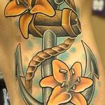 New School Anchor with Lilies Tattoo Design Thumbnail