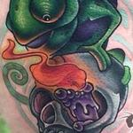 Tattoos - New School Chameleon and Skull tattoo - 104755