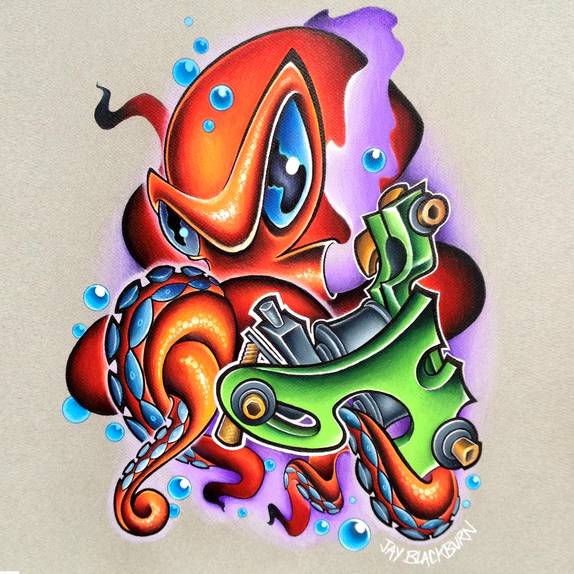 Tattoos - New school colored pencil octopus and Orpahan Irons Stymi2 tattoo machine - 79938