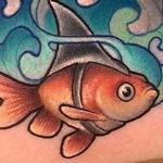 Tattoos - New School Goldfish wearing sharkfin - 116030