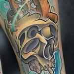 Tattoos - New School Skull And Shipwheel - 114058