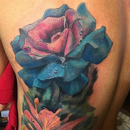 Tattoos - blue & pink rose - 120214