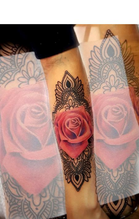 Tattoos - rose & mandala - 132207