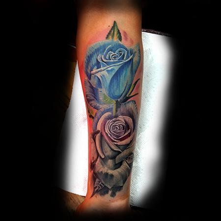 Blue and grey Roses